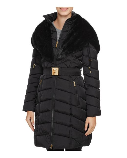 Laundry by Shelli Segal | Black Faux Fur Trim Belted Down Coat | Lyst