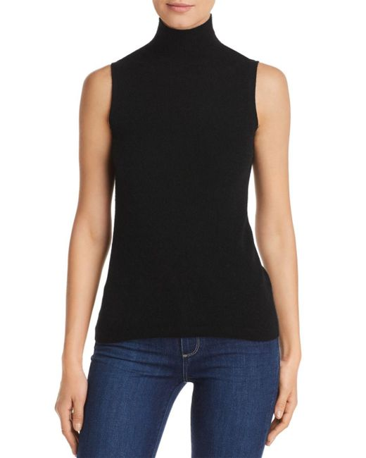 C By Bloomingdale's Black Sleeveless Cashmere Sweater
