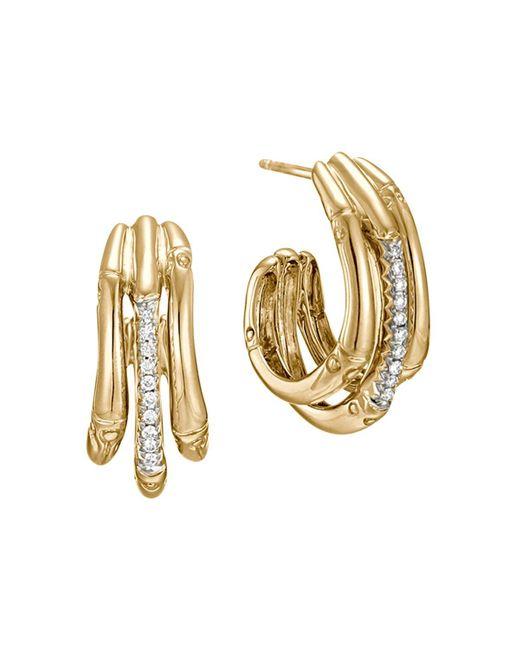 John Hardy   Metallic Bamboo 18k Yellow Gold Diamond Pavé Small Hoop Earrings With Diamonds   Lyst