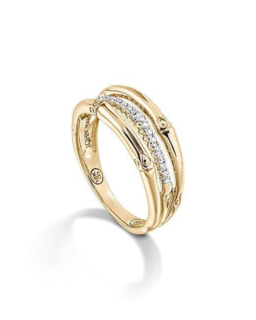 John Hardy   Metallic Bamboo 18k Yellow Gold Diamond Pave Ring   Lyst