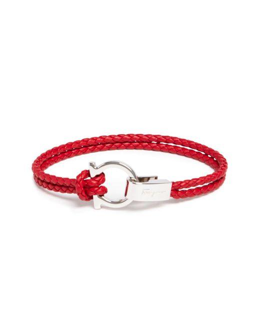 Ferragamo   Red Braided Double Wrap Bracelet With Gancio Closure for Men   Lyst