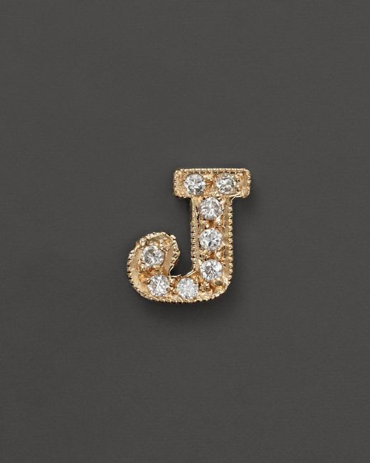 Zoe Chicco   14k Yellow Gold Pave Single Initial Stud Earring, .04-.06 Ct. T.w.   Lyst