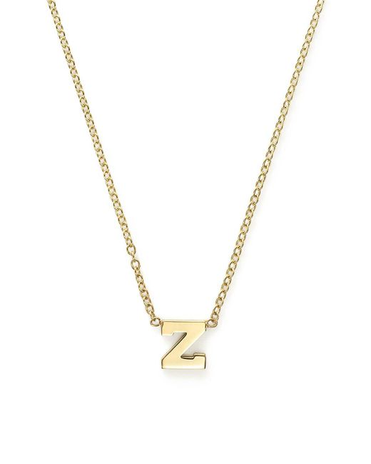 """Zoe Chicco   Metallic 14k Yellow Gold Initial Necklace, 16""""   Lyst"""