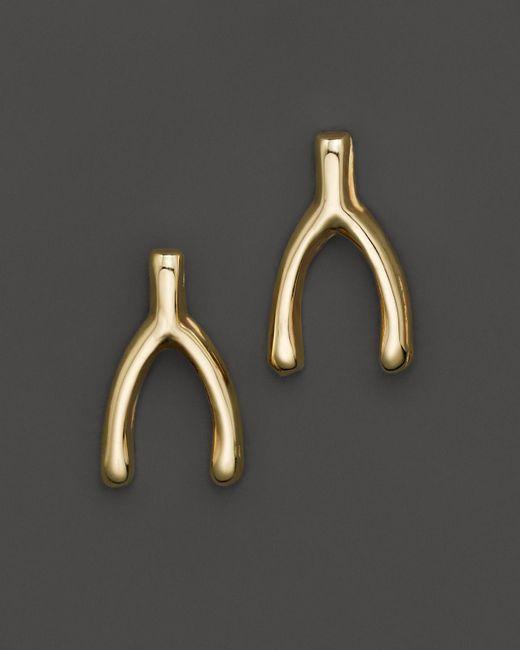 Zoe Chicco | 14k Yellow Gold Small Wishbone Stud Earrings | Lyst