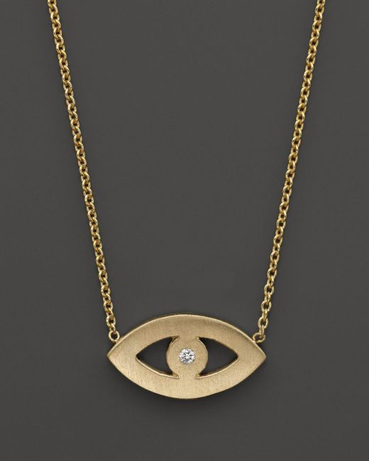 Zoe Chicco | 14k Yellow Gold Evil Eye Diamond Necklace, 16"