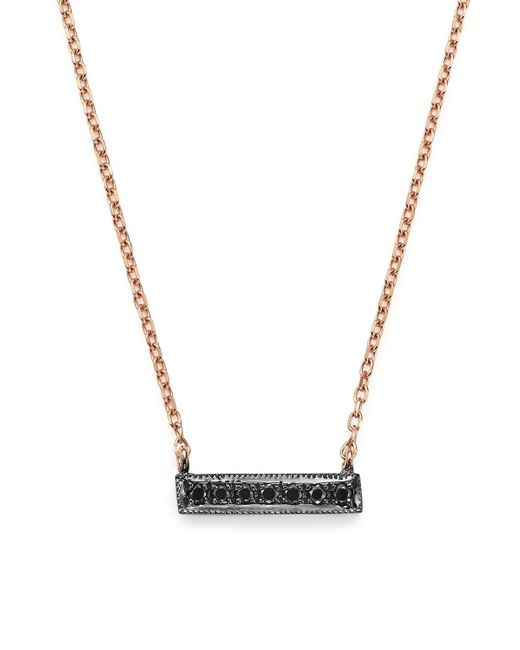 "Dana Rebecca   Pink Black Diamond Sylvie Rose Mini Bar Necklace In 14k Rose Gold And Black Rhodium, 16""   Lyst"