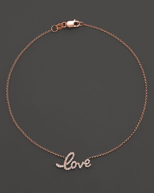 KC Designs | Pink Diamond Love Ankle Bracelet In 14k Rose Gold, .16 Ct. T.w. | Lyst