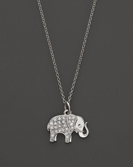 "KC Designs | Metallic Diamond Elephant Pendant In 14k White Gold, 16"" | Lyst"