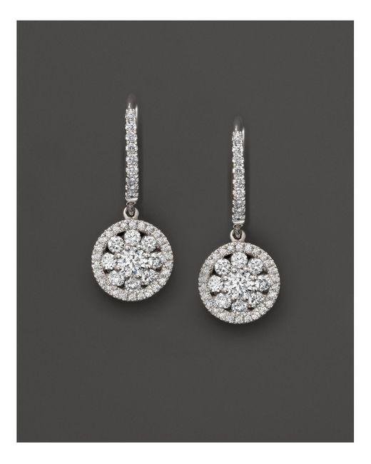 Roberto Coin | 18k White Gold Diamond Drop Earrings | Lyst