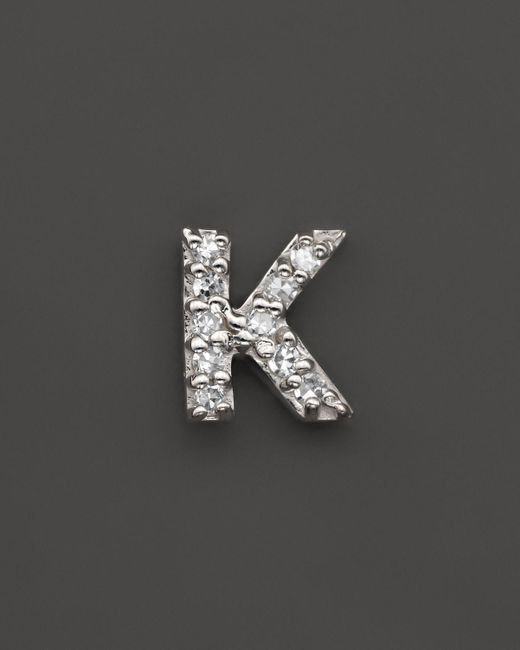 KC Designs   Diamond Initial Stud Earring In 14k White Gold - 100% Exclusive   Lyst
