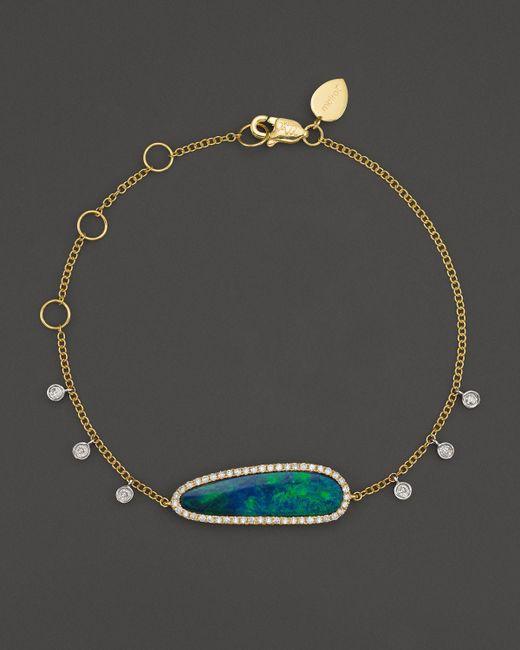 Meira T   14k Yellow Gold Oval Blue Opal And Diamond Bracelet   Lyst