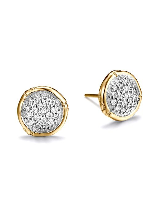 John Hardy | Metallic Bamboo 18k Yellow Gold Diamond Pavé Small Round Stud Earrings | Lyst