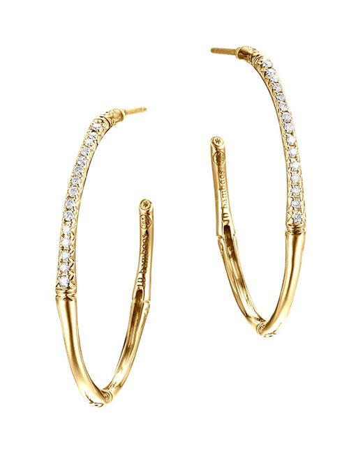John Hardy | Metallic Bamboo 18k Yellow Gold Diamond Pavé Small Hoop Earrings | Lyst