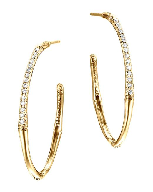 John Hardy | Metallic Bamboo 18k Yellow Gold Diamond Pave Small Hoop Earrings | Lyst