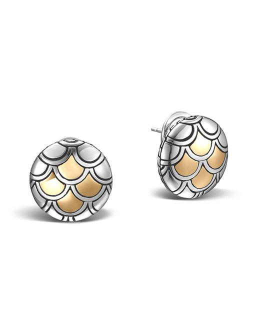 John Hardy   Metallic Sterling Silver & 18k Gold Naga Button Earrings   Lyst
