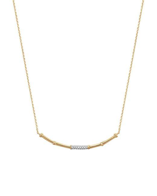 "John Hardy | Metallic Bamboo 18k Yellow Gold Diamond Pave Slim Necklace With Diamonds, 16"" | Lyst"