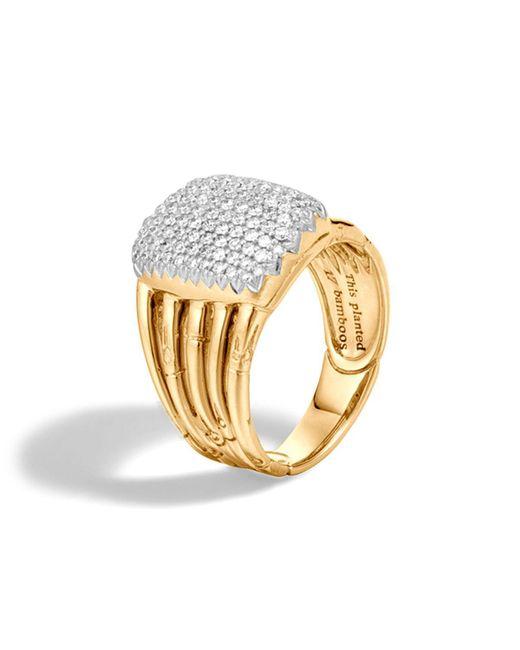 John Hardy | Metallic Bamboo 18k Yellow Gold Diamond Pave Five Row Ring | Lyst