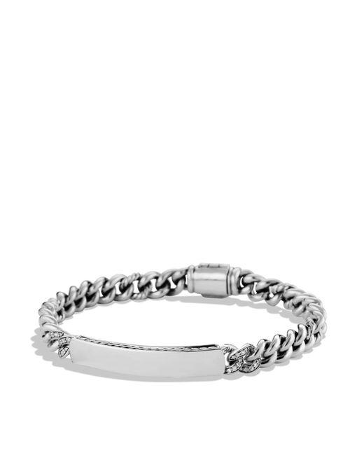 David Yurman | Metallic Petite Pavé Curb Link Id Bracelet With Diamonds for Men | Lyst