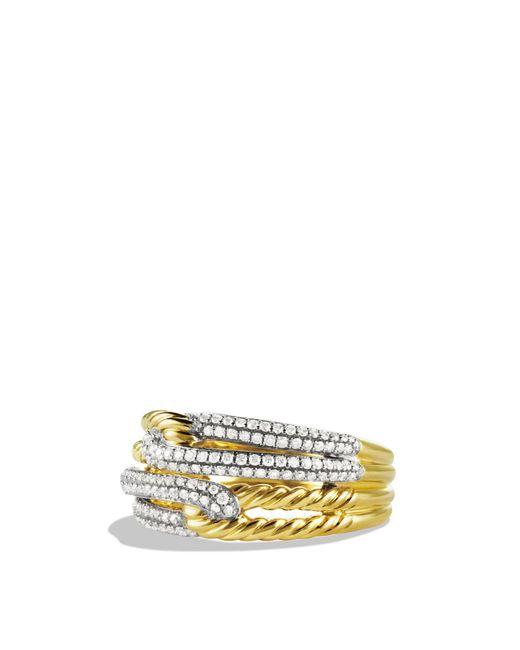 David Yurman | Metallic Labyrinth Double-loop Ring With Diamonds In Gold | Lyst