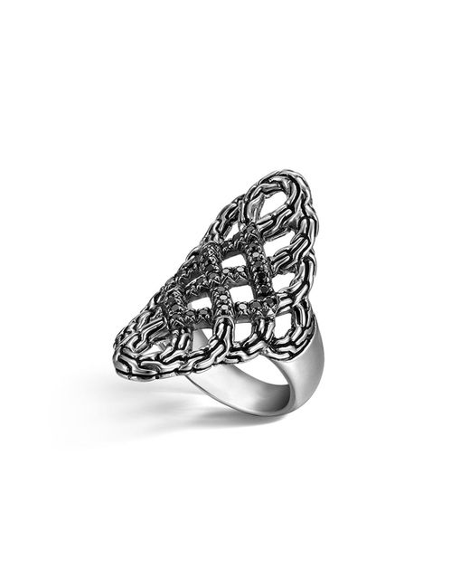 John Hardy | Metallic Classic Chain Silver Lava Large Saddle Ring With Black Sapphire | Lyst