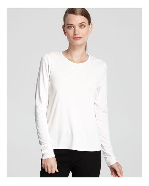 Eileen Fisher | White Silk Jersey Tee | Lyst