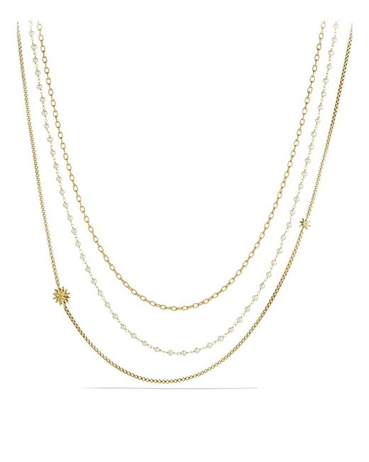 David Yurman | Metallic Starburst Chain Necklace With Pearls In Gold | Lyst
