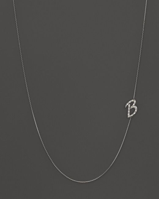 KC Designs   Diamond Side Initial B Necklace In 14k White Gold, .09 Ct. T.w.   Lyst