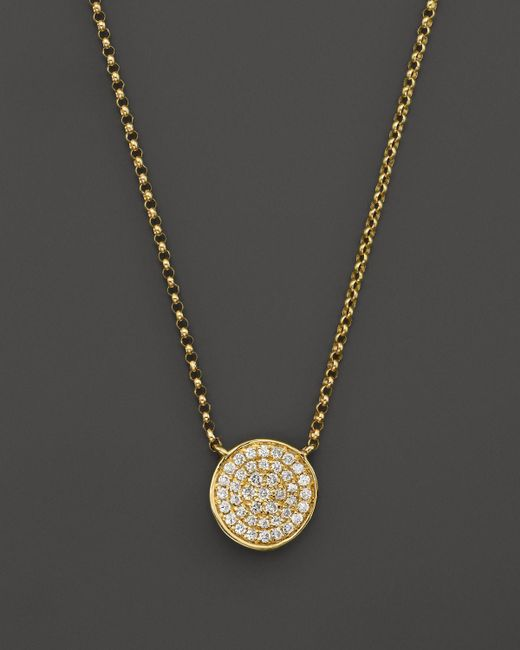 KC Designs | White Diamond Pave Disc Pendant Necklace In 14k Yellow Gold, 17.5"