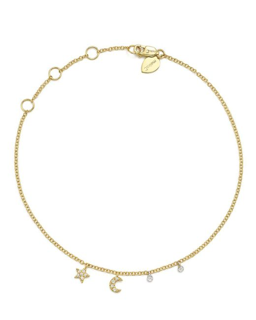 Meira T - 14k White And Yellow Gold Diamond Moon And Star Ankle Bracelet - Lyst