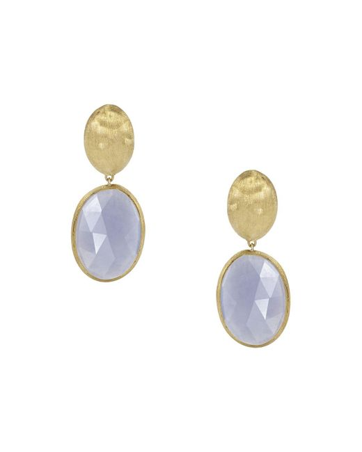 Marco Bicego | Blue 18k Yellow Gold Chalcedony Siviglia Earrings | Lyst
