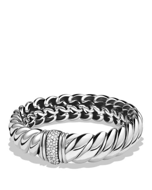 David Yurman - Metallic Hampton Cable Bracelet With Diamonds - Lyst
