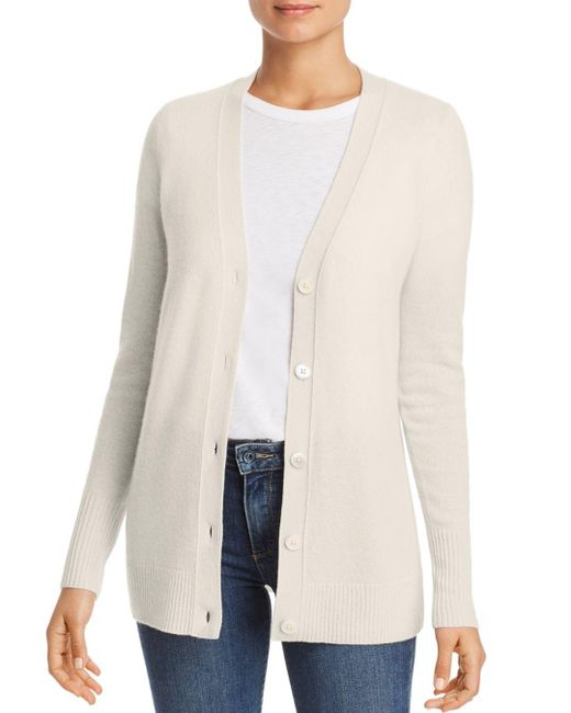 C By Bloomingdale's White Cashmere Grandfather Cardigan