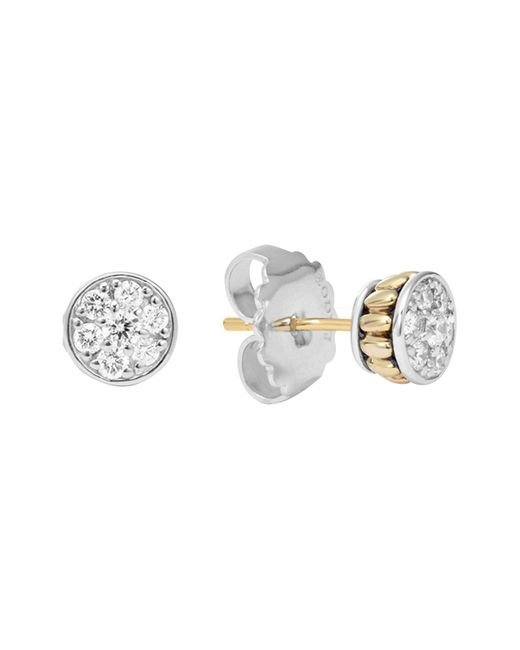 Lagos | Metallic 18k Gold And Sterling Silver Diamond Stud Earrings, .50 Ct. T.w. | Lyst