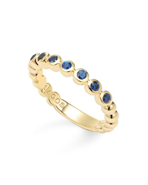 Lagos | Blue 18k Gold And Sapphire Stackable Ring | Lyst
