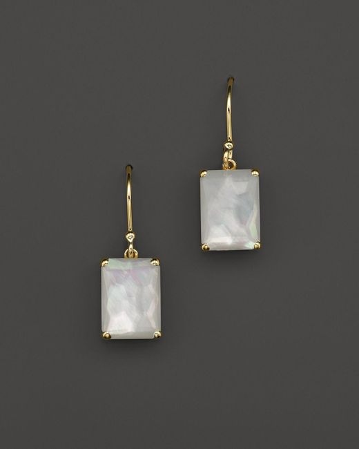 Ippolita | White 18k Gold Rock Candy Gelato Single Rectangle Drop Earrings In Mother-of-pearl | Lyst