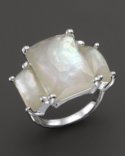 Ippolita | White Sterling Silver Rock Candy 3-stone Prong Set Ring In Mother-of-pearl | Lyst