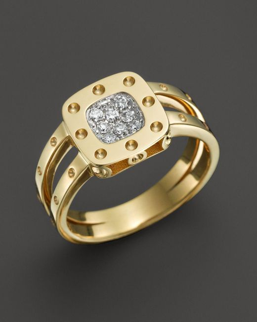 Roberto Coin | Metallic 18k Yellow Gold And Diamond Pois Moi Ring, .11 Ct. T.w. | Lyst