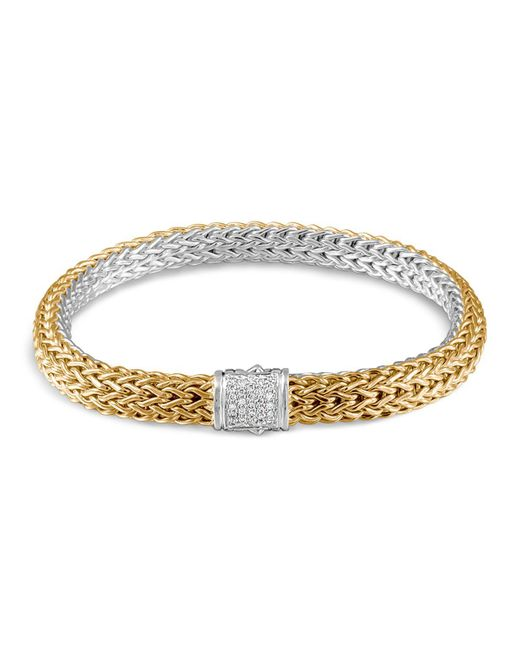 John Hardy | Metallic Classic Chain 18k Gold And Sterling Silver Small Reversible Bracelet With Pave Diamonds | Lyst