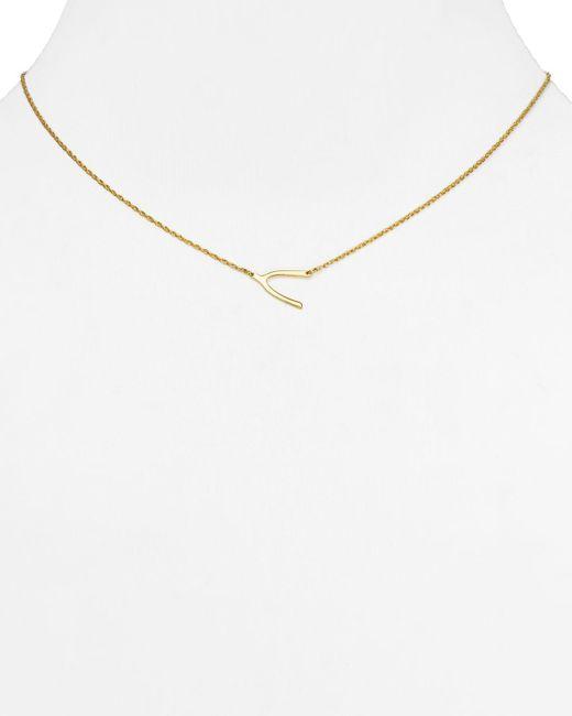 "Jennifer Zeuner | Metallic Lily Mini Wishbone Necklace, 16"" | Lyst"