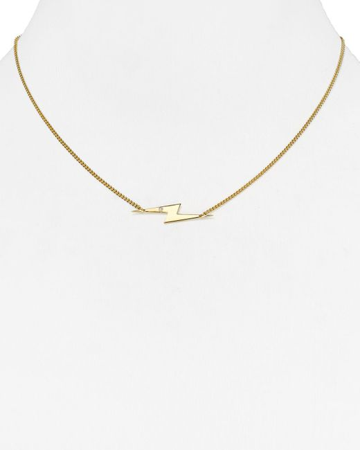 "Jennifer Zeuner | Metallic Sandra Mini Diamond Lightning Bolt Necklace, 16"" | Lyst"
