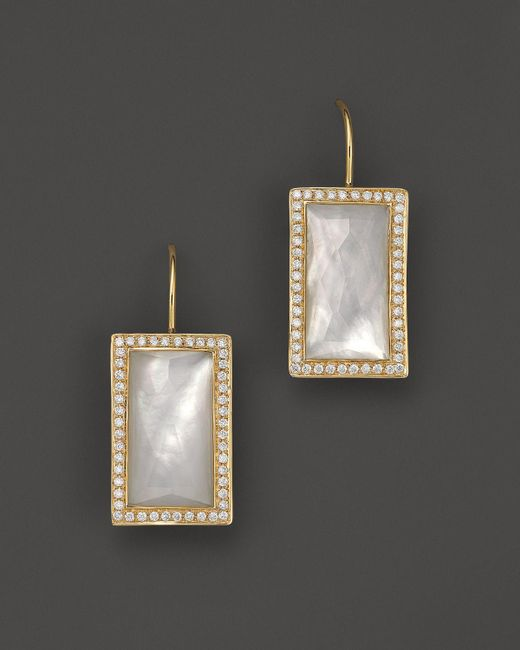 Ippolita | White 18k Gold Gelato Small Baguette Mother-of-pearl Earrings With Diamonds | Lyst