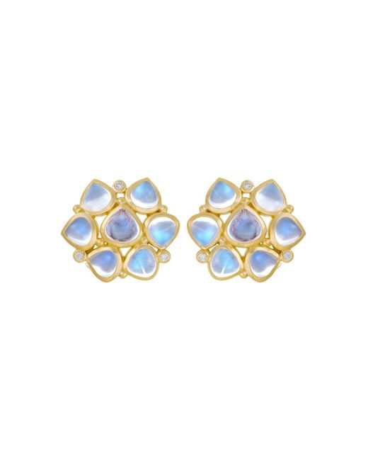 Temple St. Clair   18k Yellow Gold Small Cluster Earrings With Royal Blue Moonstone And Diamonds   Lyst
