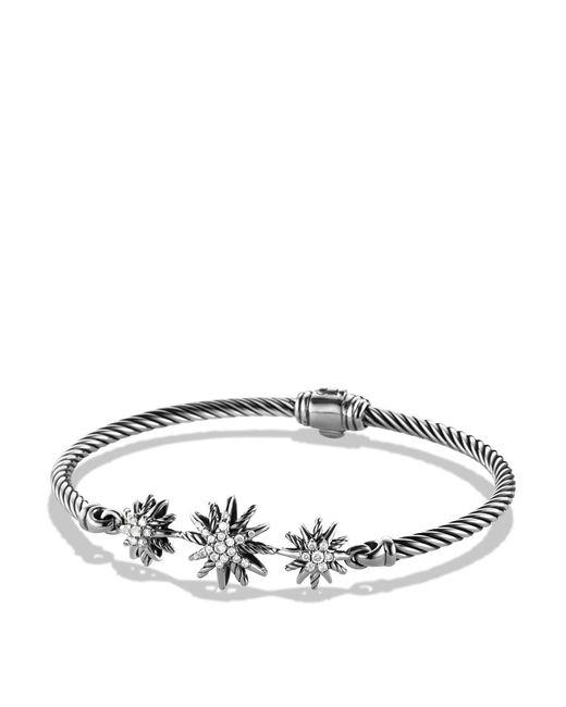 David Yurman | Metallic Starburst Three-station Cable Bracelet With Diamonds In Sterling Silver | Lyst