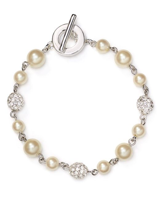 Carolee | White Faux-pearl Fireball Illusion Bracelet | Lyst