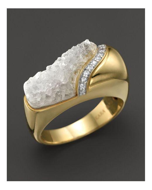Kara Ross | Metallic 18k Yellow Gold And Diamond Wide Hydra Stacking Ring With Raw White Quartz | Lyst