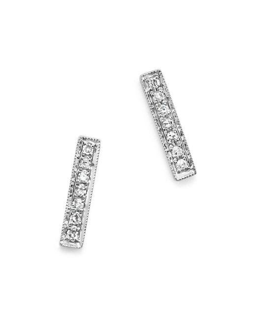 Dana Rebecca | 14k White Gold Bar Stud Earrings With Diamonds | Lyst