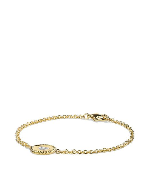 David Yurman | Metallic Cable Collectibles Pavé Heart Charm Bracelet With Diamonds In Gold | Lyst