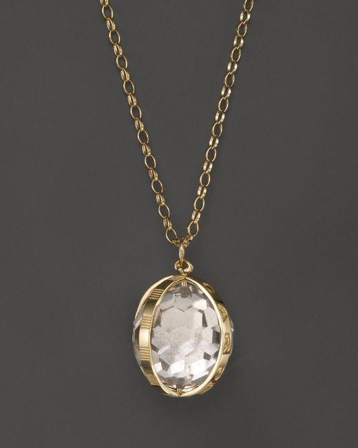"Monica Rich Kosann | Metallic 18k Yellow Gold X Large Carpe Diem Necklace With Crystal, 32"" | Lyst"