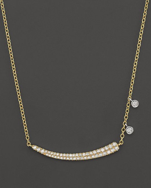 Meira T | Metallic 14k Yellow Gold Pave Diamond Curved Bar Necklace With 14k White Gold Side Bezels, 16"
