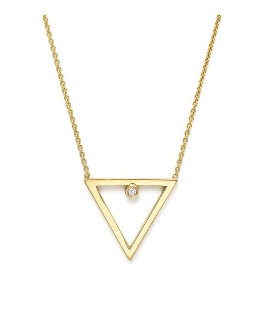 Zoe Chicco | Metallic 14k Yellow Gold Diamond Open Triangle Necklace, 16"